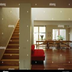 Open Plan Staircase In Living Room Small Wall Clocks For Wooden And Flooring Large Modern White Hall Dining With Red Sofa
