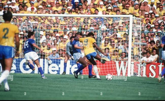 Italy V Brazil 1982 World Cup Match Serginho Tries A Shot