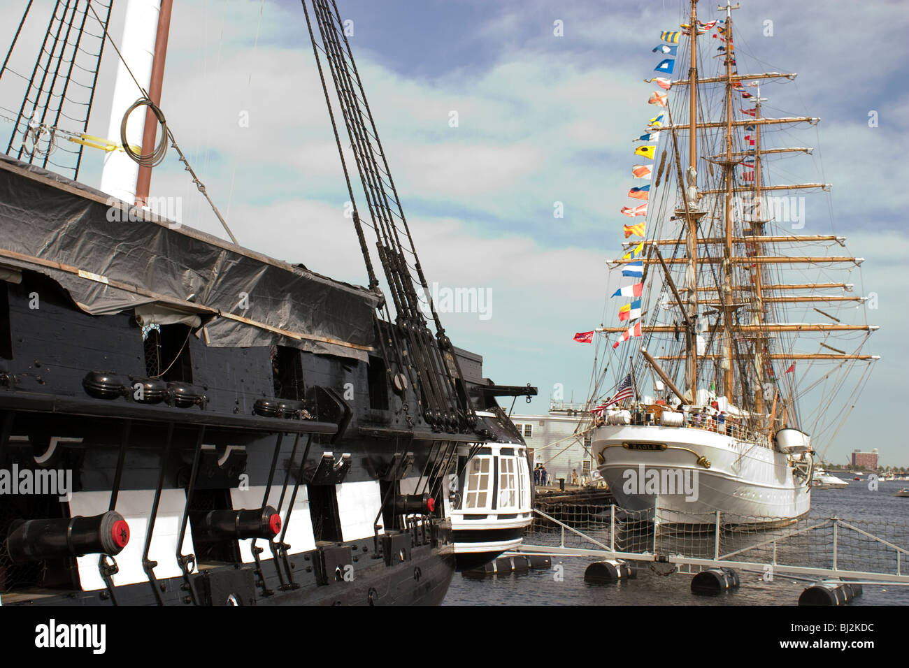 Uss Constitution Under Renovation In Charlestown Navy Yard With The Stock Photo Royalty Free