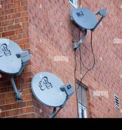 directv and dish network satellite dishes on an apartment building stock image [ 1300 x 970 Pixel ]