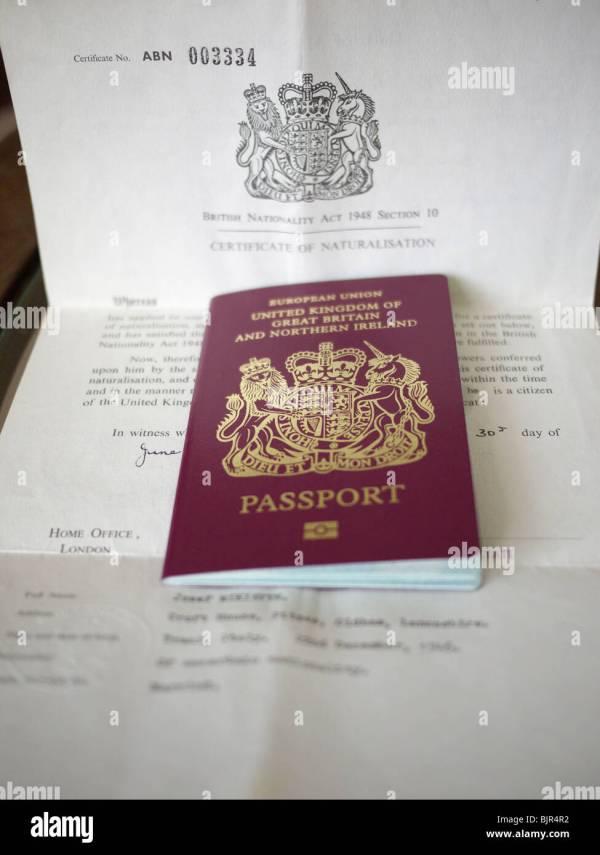 Passport With Certificate Of Naturalization. England Uk