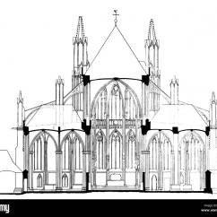 Cathedral Architecture Gothic Arches Diagram Boat Dual Battery Switch Wiring Ground Plan Cross Section Of A Stock Drawing Historic Historical Floor Plans Nave Central Aisle Vertical