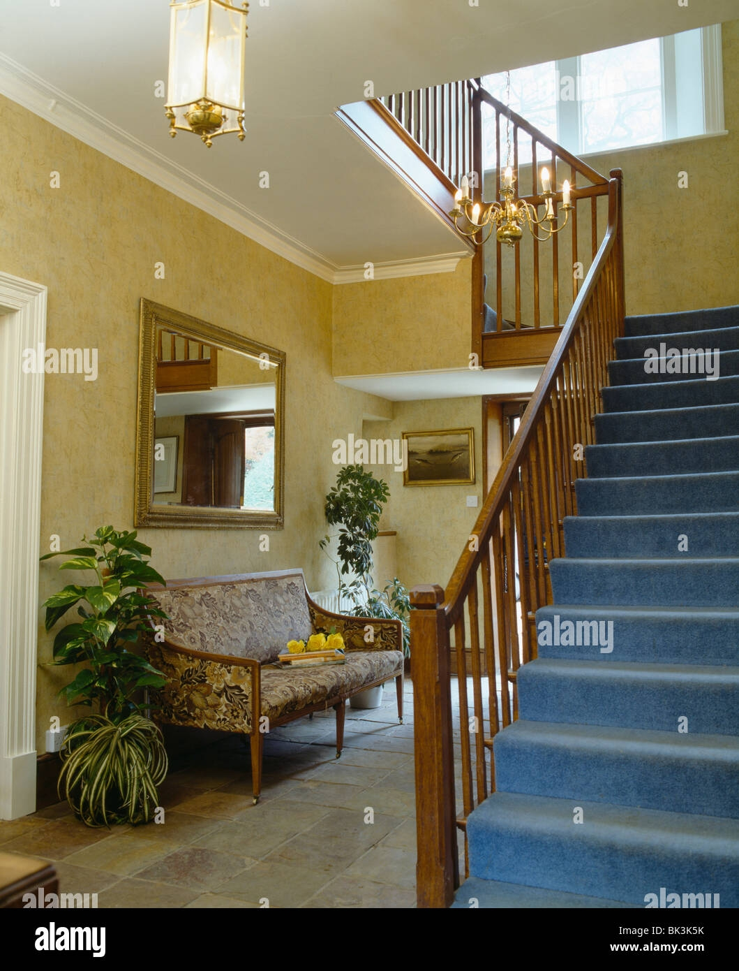 Blue Carpet On Staircase In Traditional Hall With Cream Wallpaper   Blue Carpet On Stairs   Wooden   Grey Stair White Wall   Antelope   Geometric   Gray