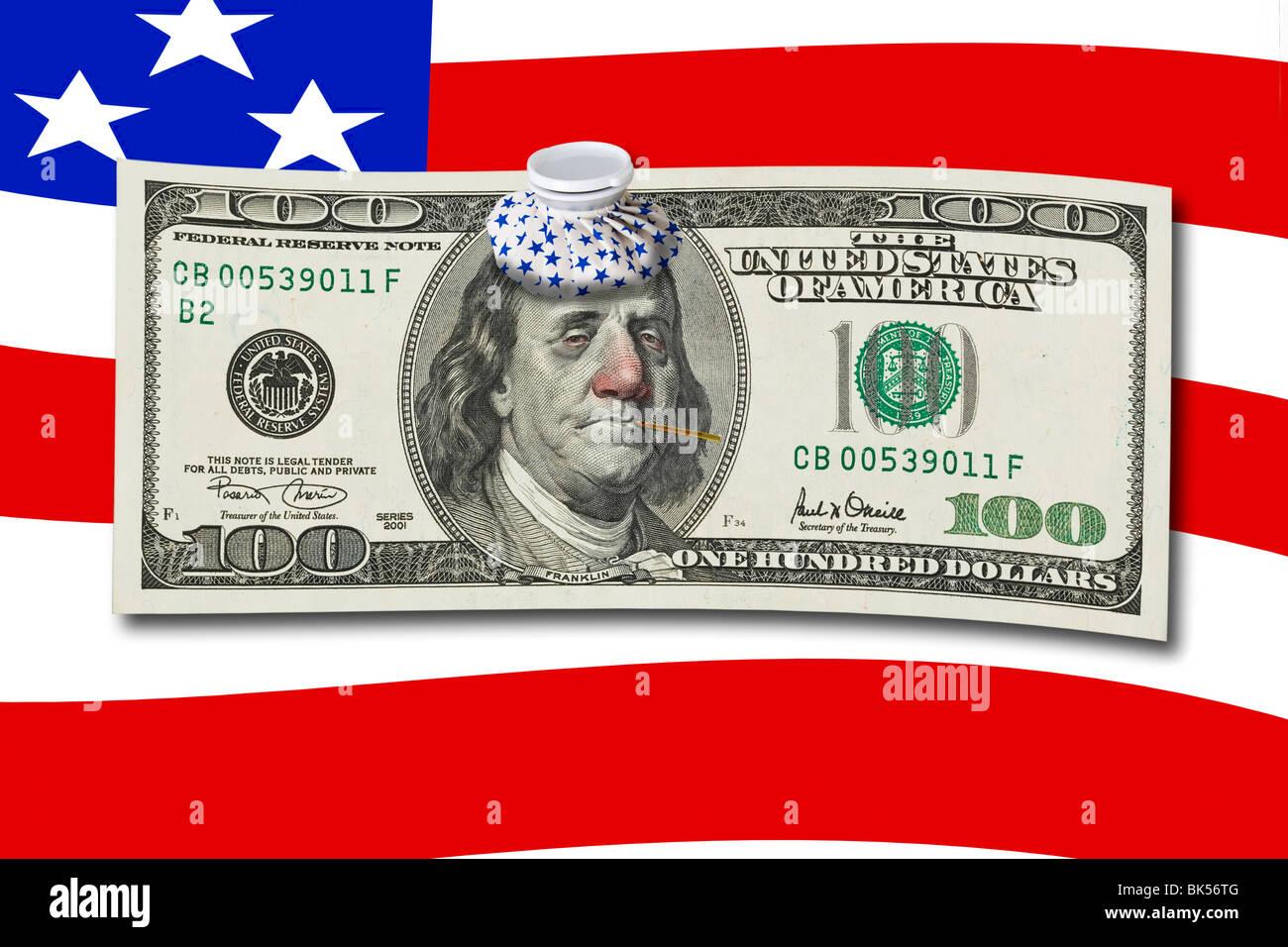 One Hundred Dollar Bill With Sick Benjamin Franklin Stock