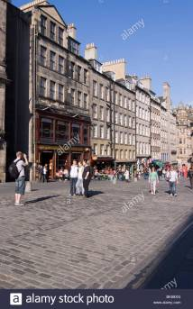 View Of Tourists Royal Mile Edinburgh Scotland Uk