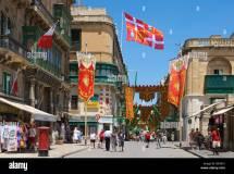 Shopping Street In Valletta Malta Europe Stock