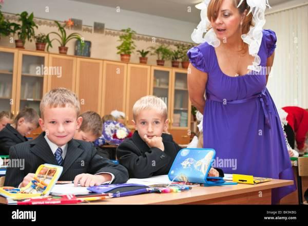 Children Caucasians Sit In Classroom Lesson