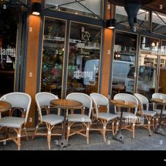 Paris Bistro Chairs Outdoor Crate And Barrel Leather Chair With Ottoman Parisian Stock Photos Outside Street Cafe Tables On Sidewalk Image