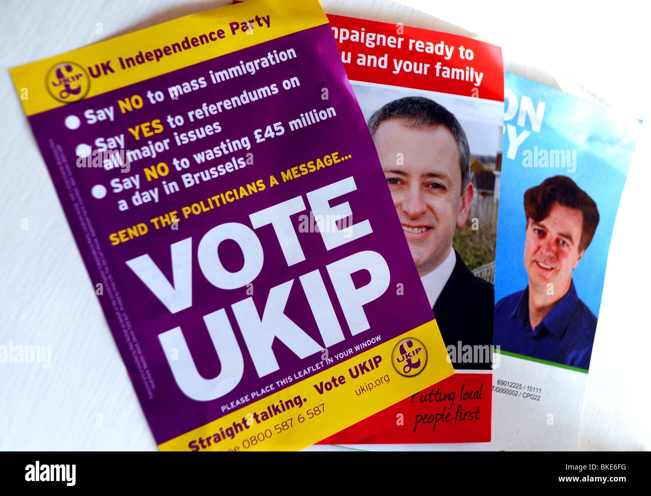 British General Election 2010 Leaflets For Labour Conservative And Ukip Uk  Political Parties - Stock Image