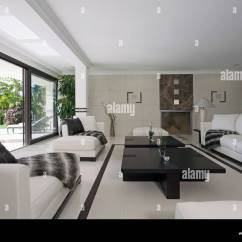 Pictures Of Modern White Living Rooms Big Couches Small Room Black Throws On Sofas In Large With Coffee Table And Flooring