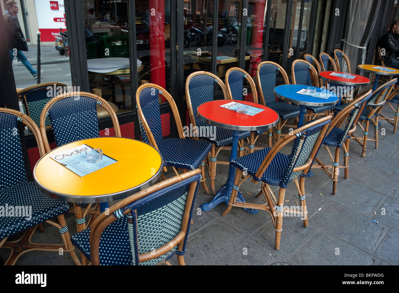 parisian cafe chairs desk chair for sale bistro stock photos paris france empty tables terrace on sidewalk street