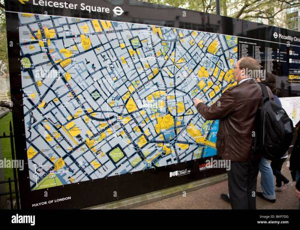 Large Location Map Tourists Leicester Square London England Stock Royalty Free