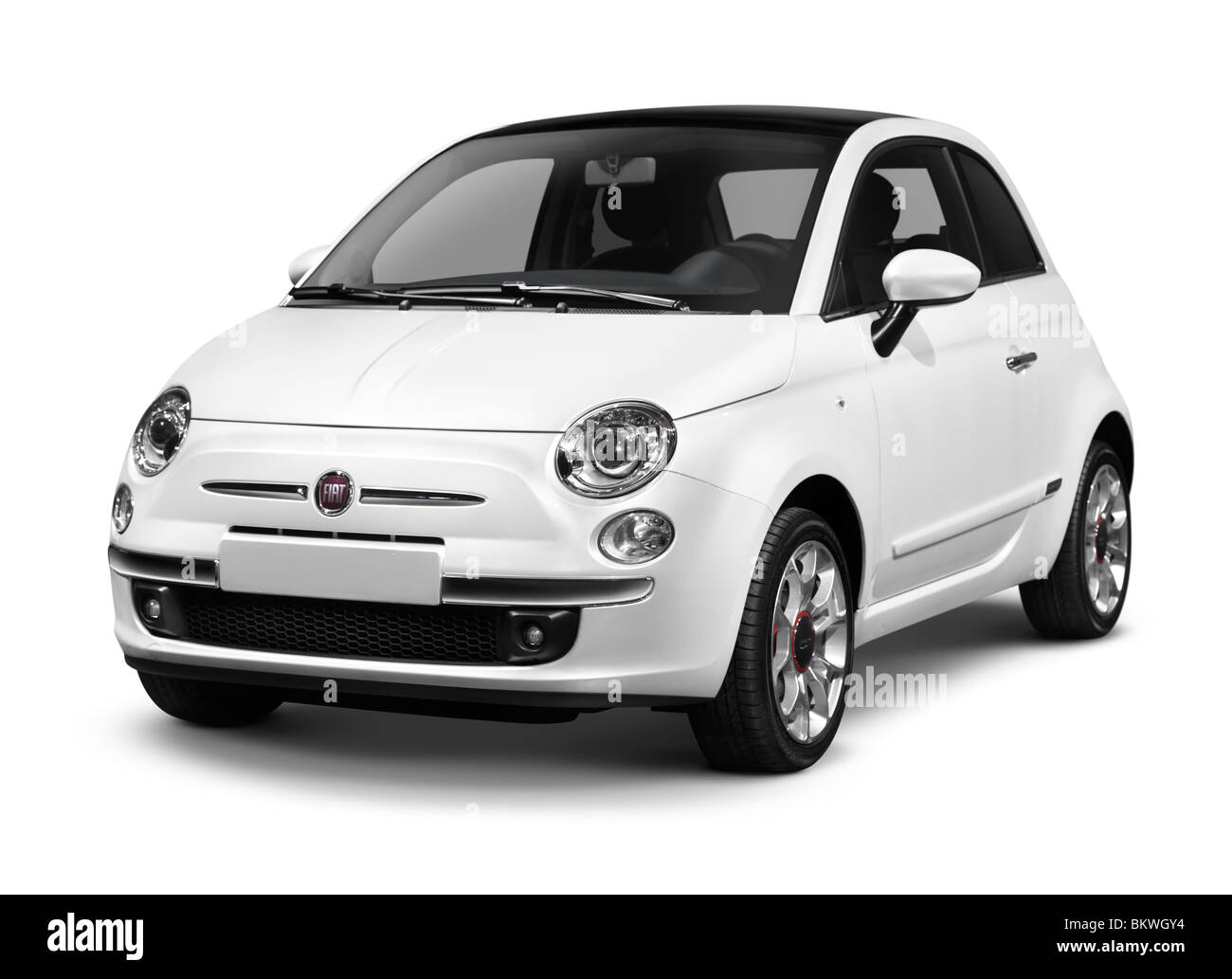 hight resolution of 2010 fiat nuova 500 small city car isolated on white background with clipping path stock