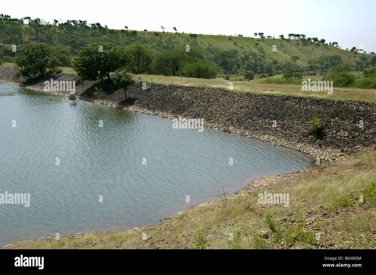 hight resolution of percolation tank at ralegan siddhi near pune maharashtra india stock image