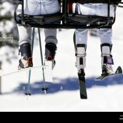 Buy Ski Lift Chair Chairperson Peoples Legs And Skis Hanging Off Stock Photo