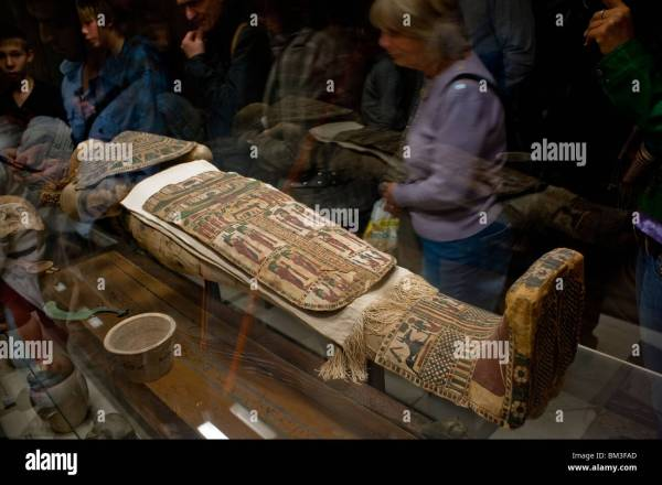 People Visiting Egyptian Mummy Louvre Museum