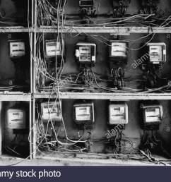 close up of wires and old fashioned meters stock image [ 1300 x 1007 Pixel ]