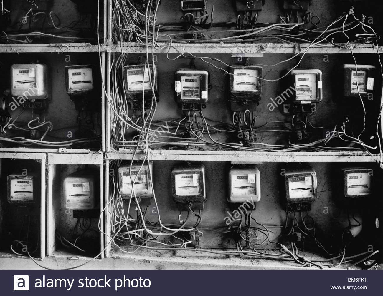 hight resolution of close up of wires and old fashioned meters stock image