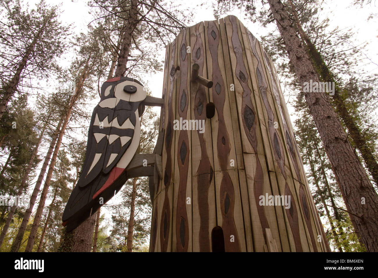 Once you've climbed, balanced and zipped there's plenty more to enjoy. Woodpecker Statue At Alice Holt Forestry Center Farnham Hampshire England United Kingdom Stock Photo Alamy
