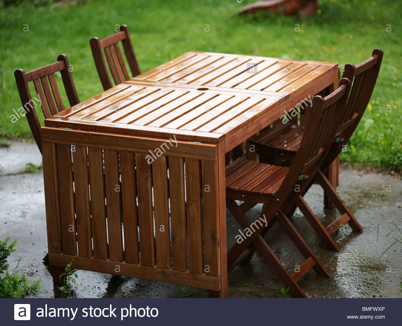 Wooden Table And Chairs Garden Furniture Wooden Table And Chairs Stock Photo