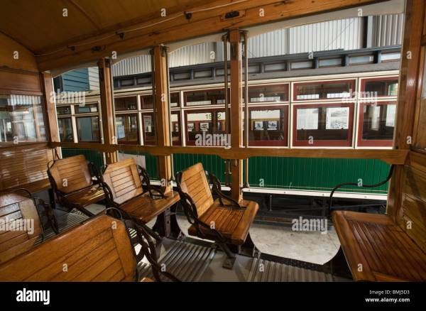 Classic Tram Wooden Interior And Benches Trolley