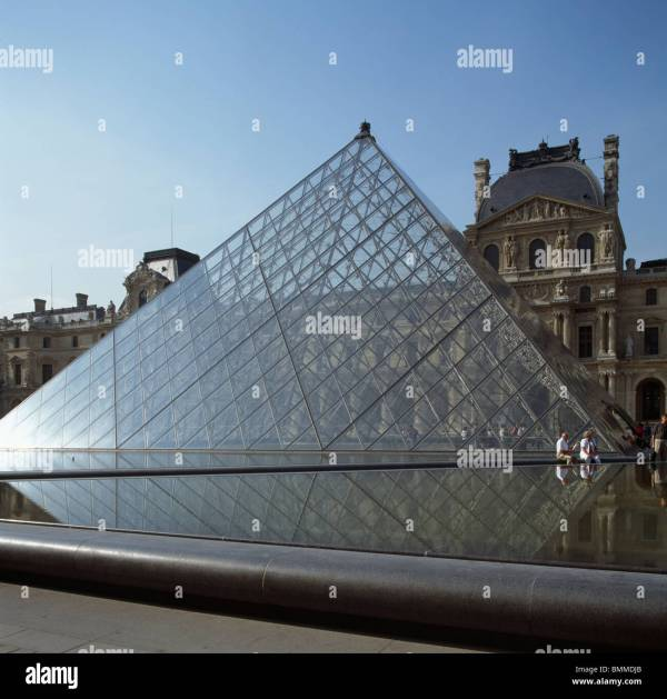 Louvre Museum Paris. Steel And Glass Pyramid . Pei