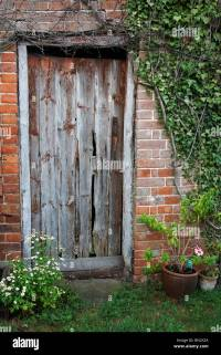 Old shed door in an English country garden Stock Photo ...
