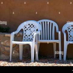 White Lawn Chairs Plastic Woven Garden Three Cheap Stock Photo 30240040 Alamy