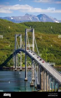 Norway Scandinavia Tjelsund Bridge River Flow Narvik