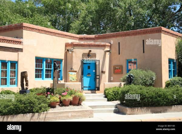 Art Canyon Road Santa Fe Mexico Usa Stock