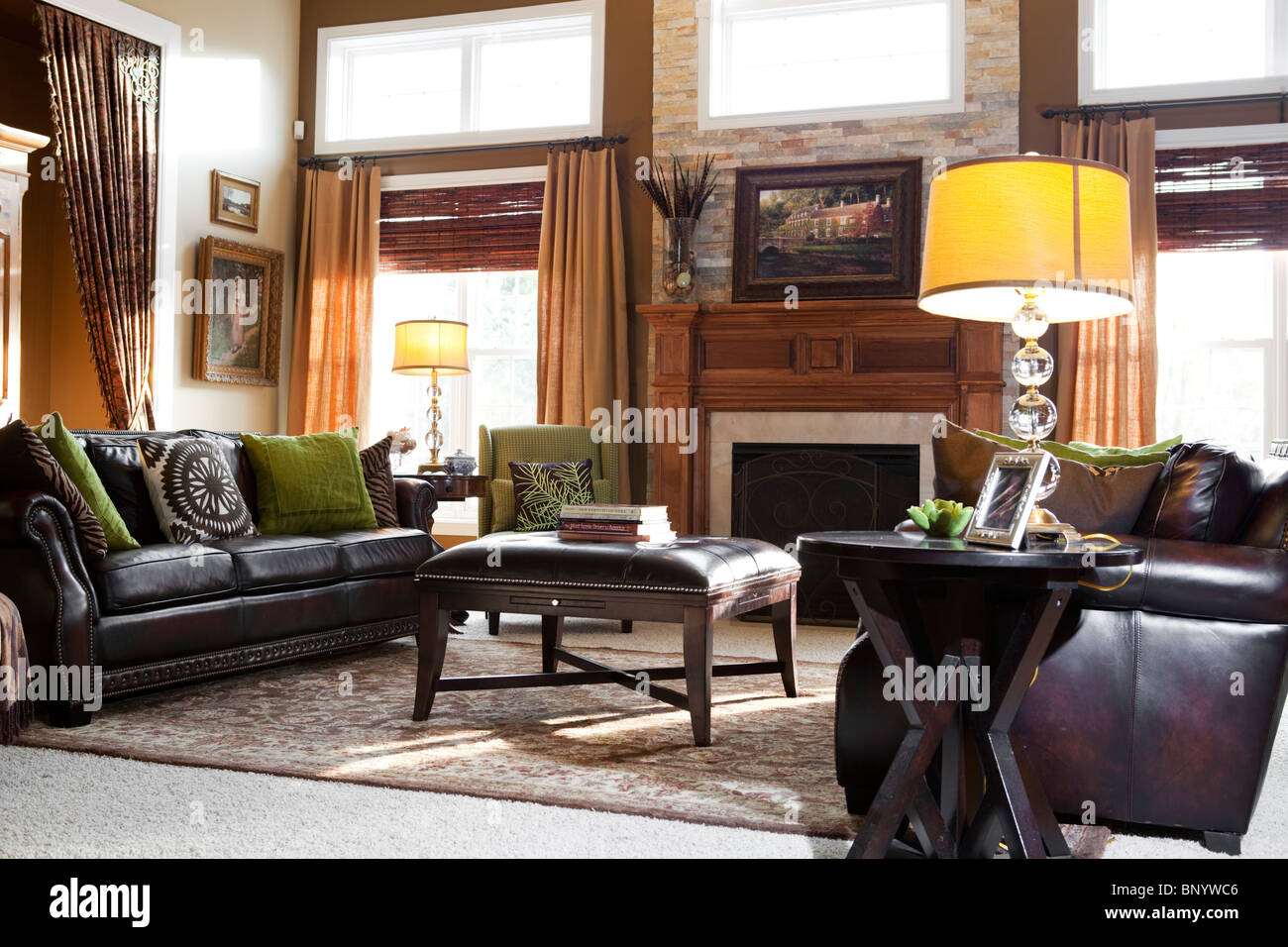 American living room in countryside house in Midwest with