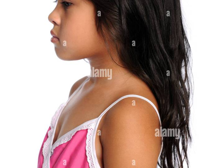 Profile Portrait Of Young Asian Girl Isolated Over White Background Stock Image