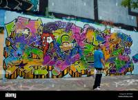Paris, France, Street Scene, Painted Wall with Spray Paint ...