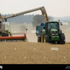 Semi Trailer Deutsch 1997 Toyota Land Cruiser Electrical Wiring Diagram Claas Combine Harvester Unloading Grain Into A Being Towed By Stock Photo: 30979049 - Alamy