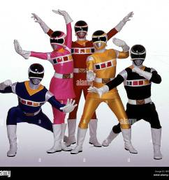 blue space ranger pink space ranger red space ranger yellow space ranger black space ranger power rangers in space 1998  [ 1300 x 1213 Pixel ]