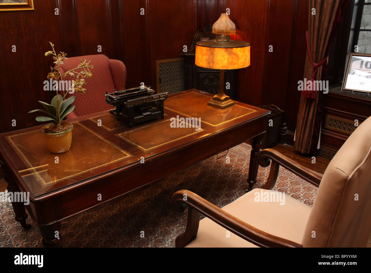 old office chair and table steelcase leap v1 vs v2 retro vintage desk typewriter lamp stock photo