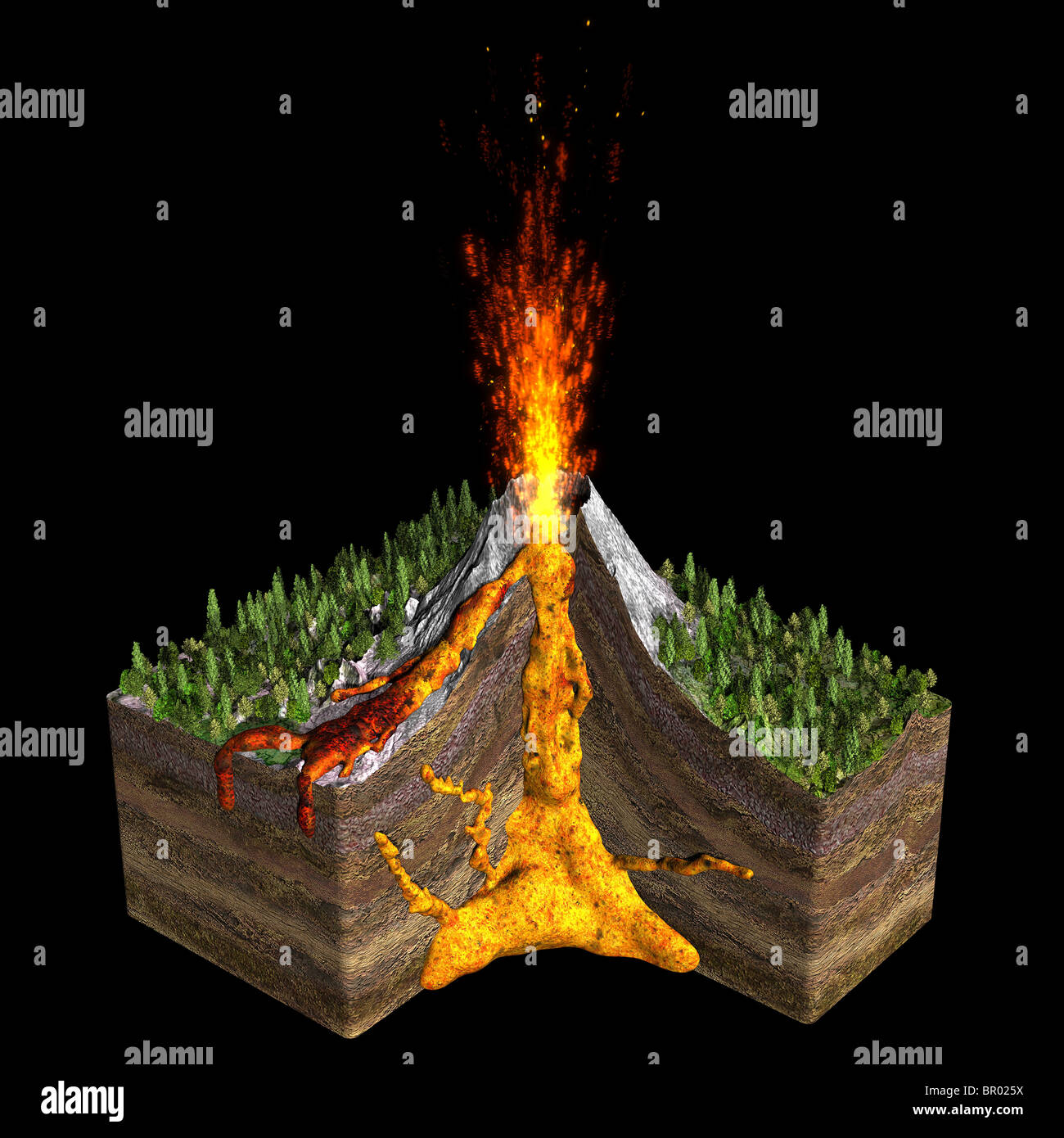 Illustration Of A Volcano Spitting Fire Showing A Cross