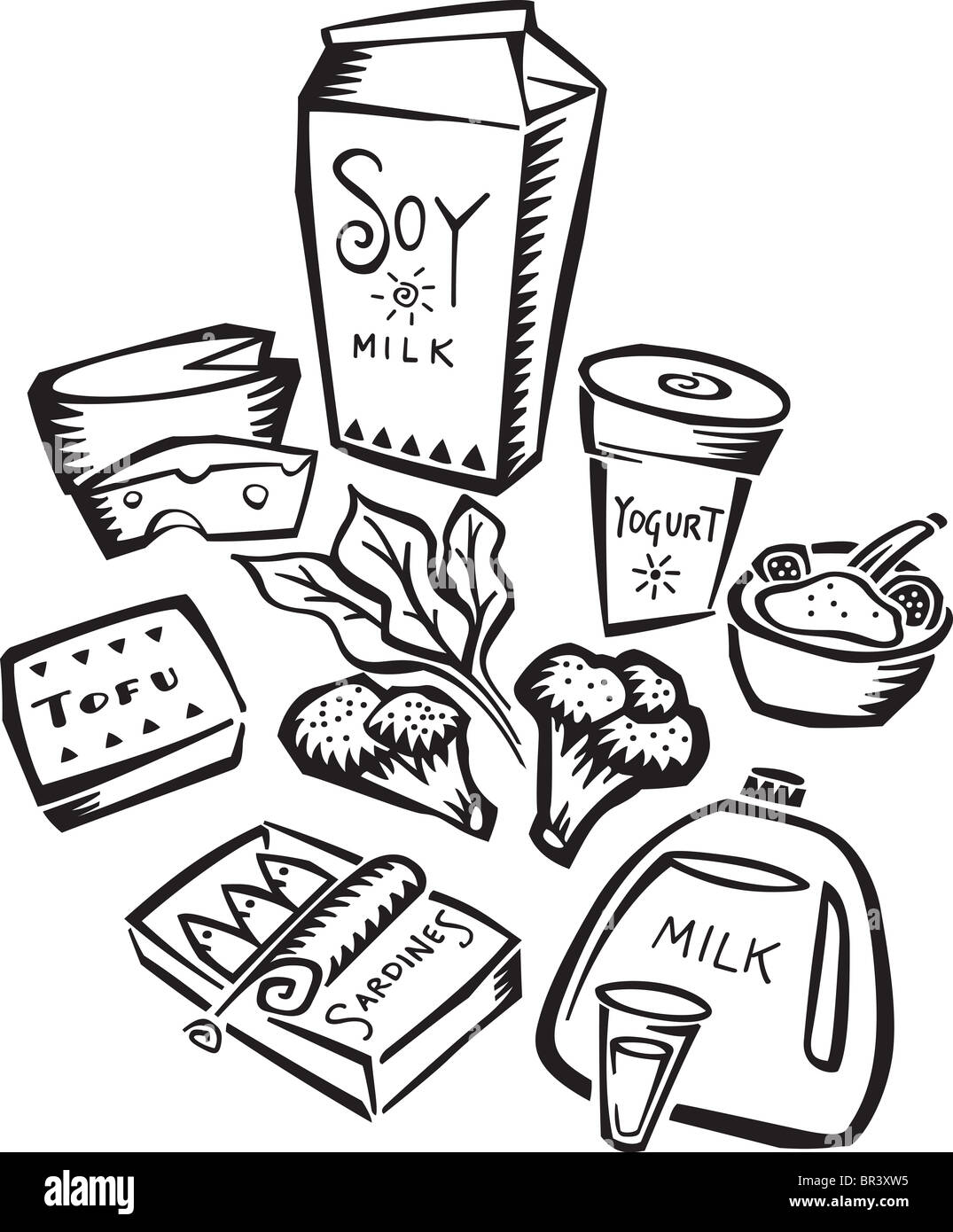 An Illustration Of Foods Rich In Calcium Stock Photo