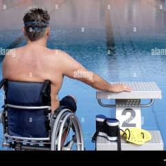 Wheelchair Man Slim Reclining Chairs Young Handicapped In A At The Edge Of