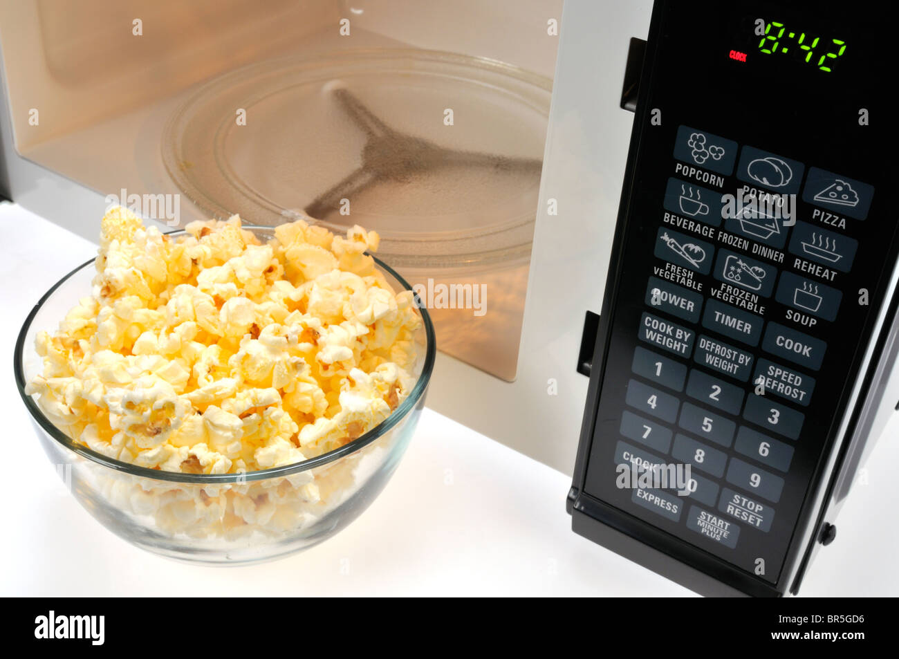 https www alamy com stock photo glass bowl of cooked microwave popcorn in front of microwave 31470130 html