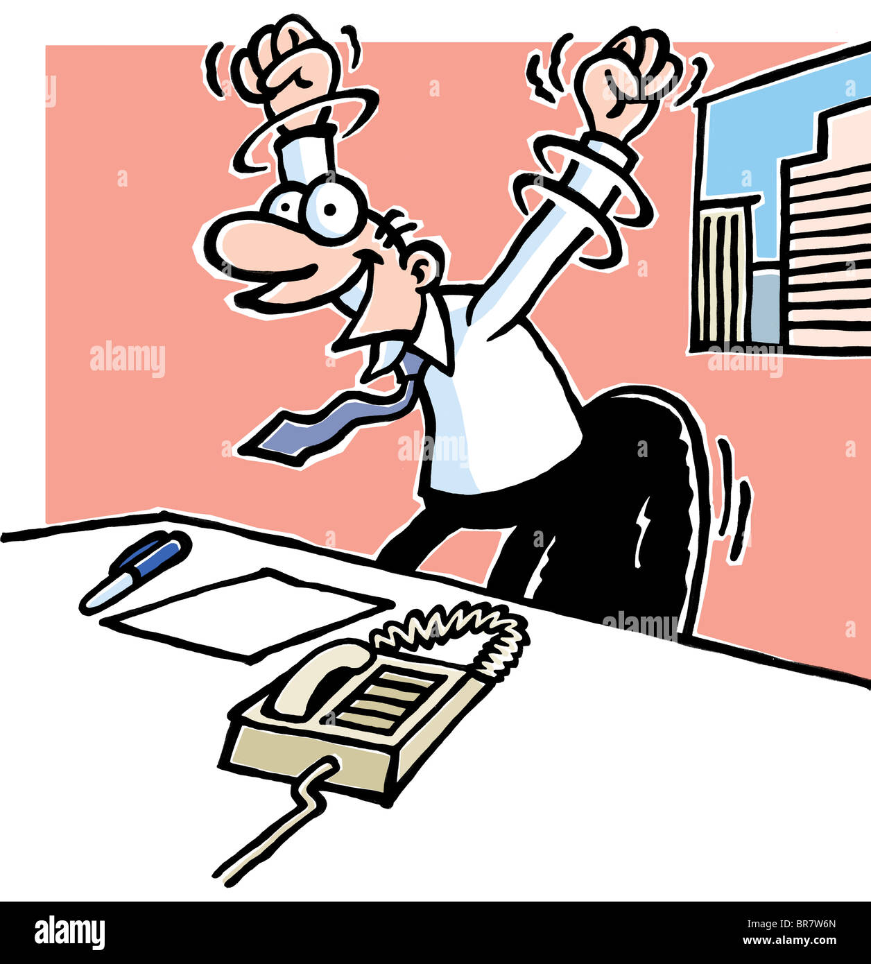 A cartoon drawing of a man at work desk with his arms held
