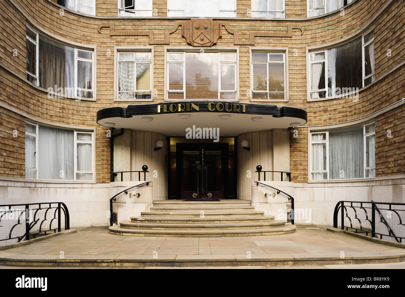 Entrance to Art Deco apartment building in London UK Stock