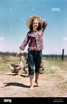 1950s Farm Girl Barefoot