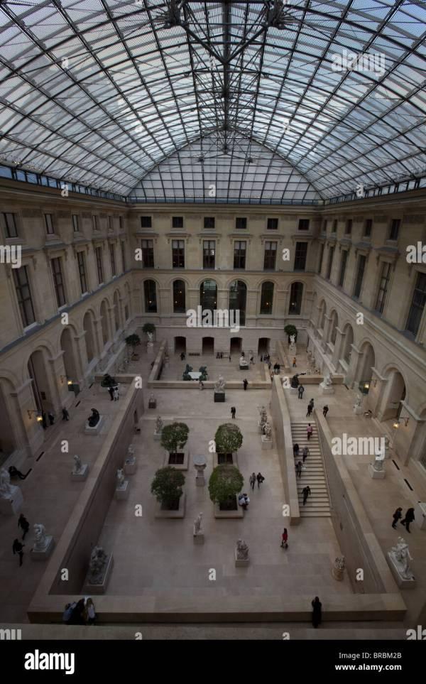 Louvre Museum Interior Courtyard Stock &
