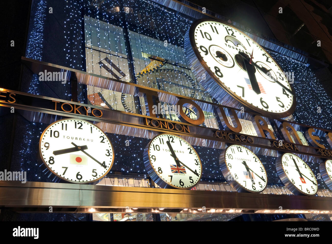 clocks showing various world