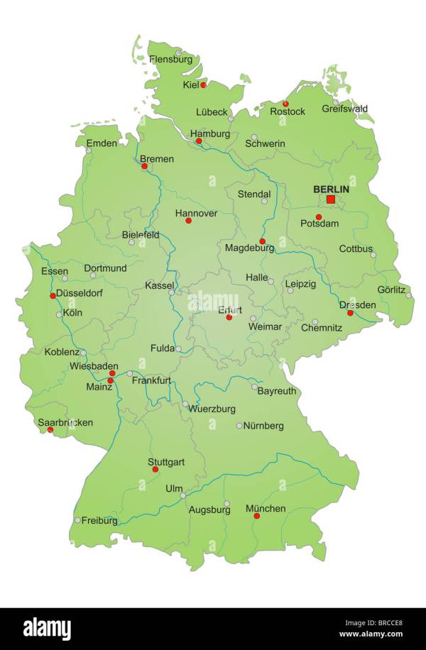 Stylized map of germany showing states rivers and big
