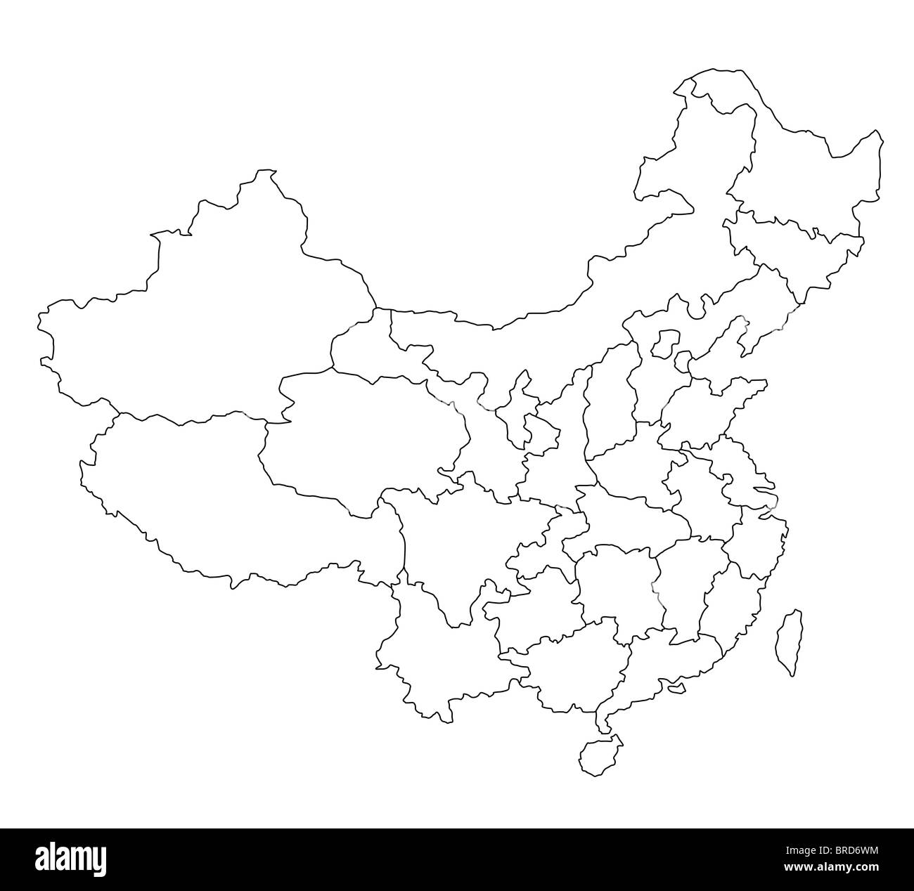 A Stylized Blank Map Of China All Isolated On White
