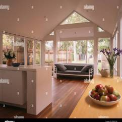 Living Room Extension Pictures Corner Unit Modern White Open Plan Kitchen And With Black Chrome Sofa Wooden Flooring