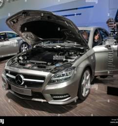 paris france paris car show mercedes benz cls 350 front open hood boot [ 1300 x 1140 Pixel ]