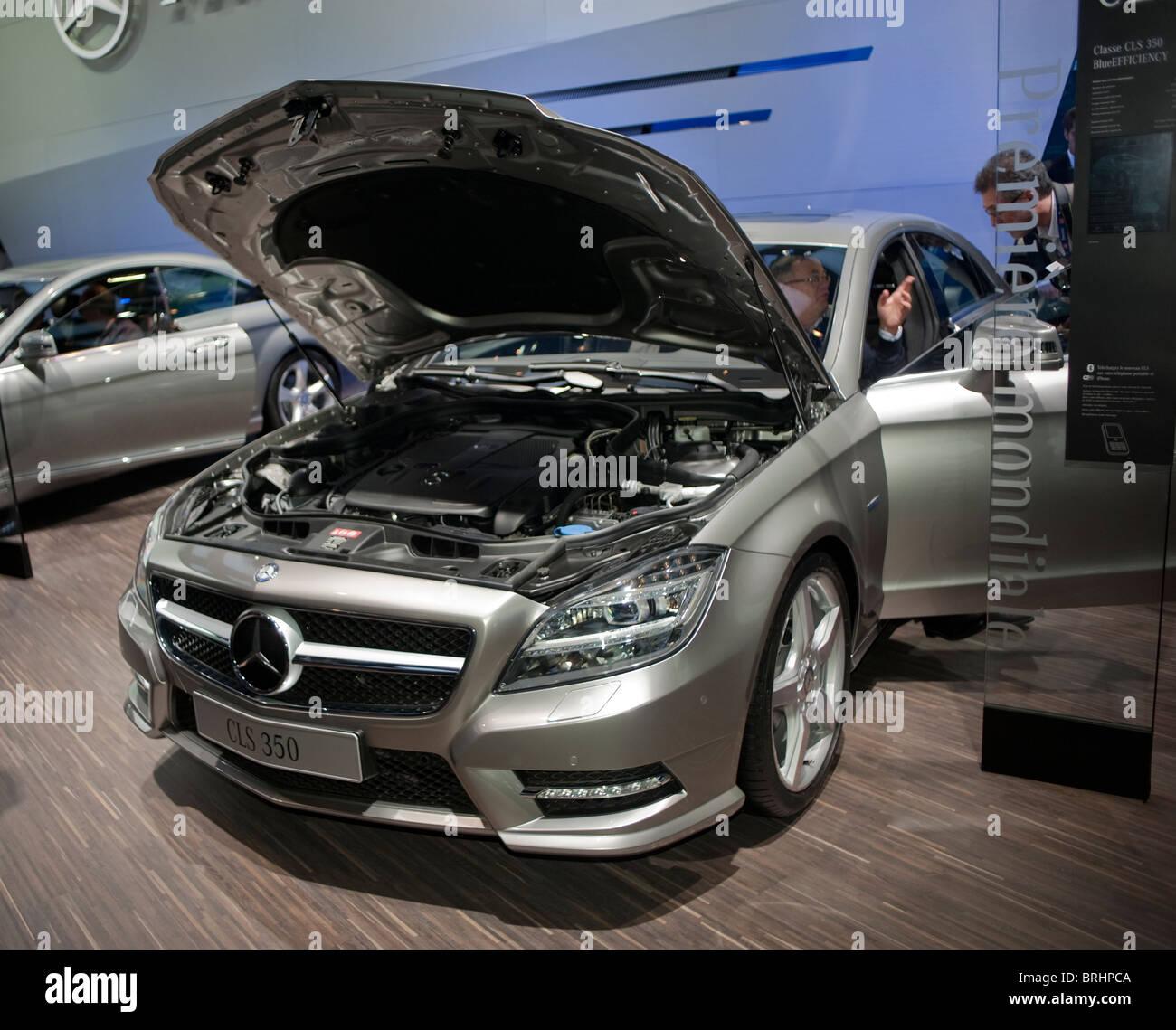 hight resolution of paris france paris car show mercedes benz cls 350 front open hood boot